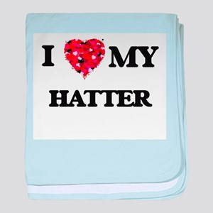I love my Hatter hearts design baby blanket