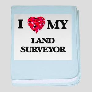 I love my Land Surveyor hearts design baby blanket
