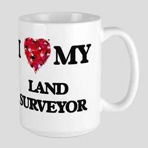 I love my Land Surveyor hearts design Mugs