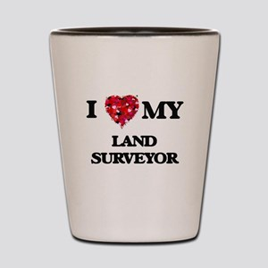 I love my Land Surveyor hearts design Shot Glass