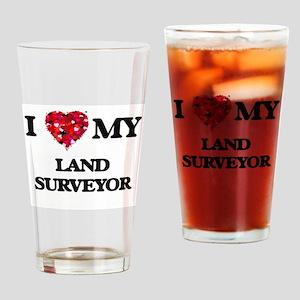 I love my Land Surveyor hearts desi Drinking Glass