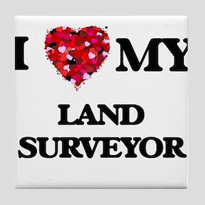 I love my Land Surveyor hearts design Tile Coaster