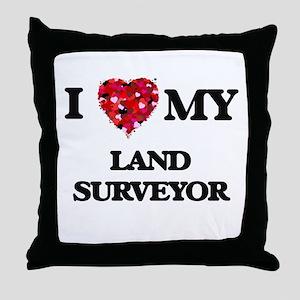 I love my Land Surveyor hearts design Throw Pillow