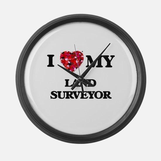 I love my Land Surveyor hearts de Large Wall Clock