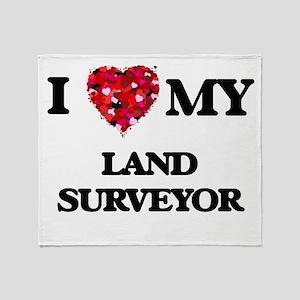 I love my Land Surveyor hearts desig Throw Blanket