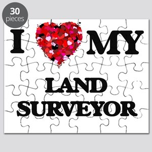 I love my Land Surveyor hearts design Puzzle