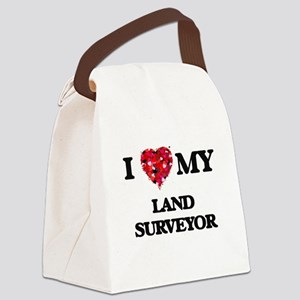 I love my Land Surveyor hearts de Canvas Lunch Bag