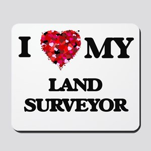I love my Land Surveyor hearts design Mousepad