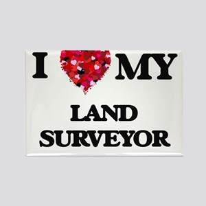 I love my Land Surveyor hearts design Magnets
