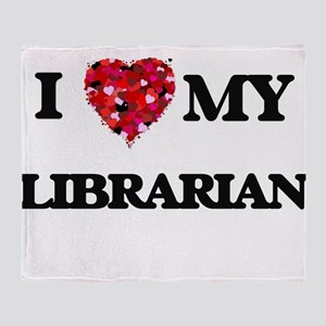 I love my Librarian hearts design Throw Blanket