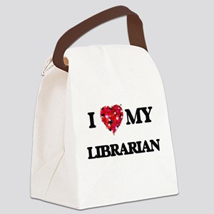 I love my Librarian hearts design Canvas Lunch Bag