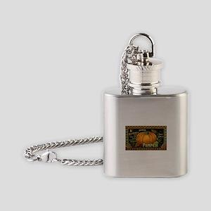 Vintage Fruit Crate Label Flask Necklace