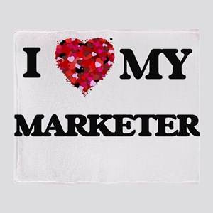 I love my Marketer hearts design Throw Blanket