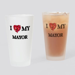 I love my Mayor hearts design Drinking Glass