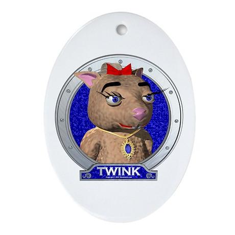 Twink's Blue Portrait Oval Ornament