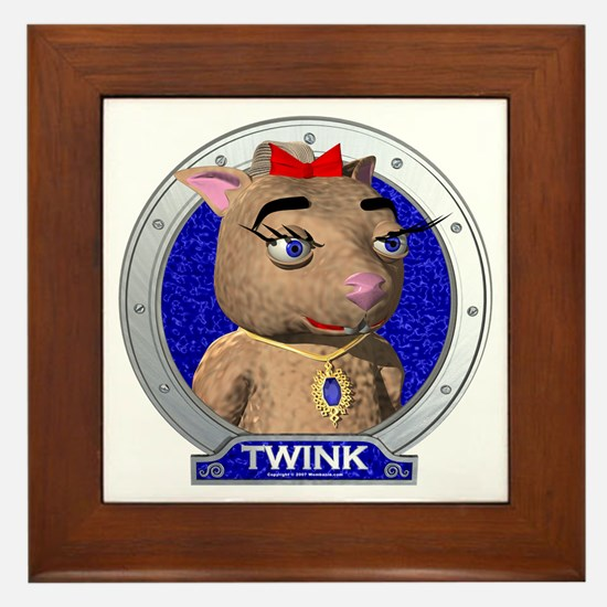 Twink's Blue Portrait Framed Tile