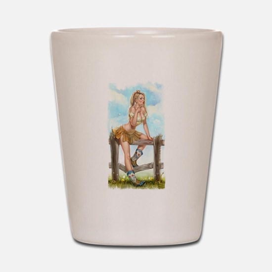 Cowgirl Pin Up Girl Shot Glass