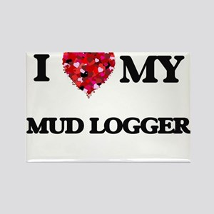 I love my Mud Logger hearts design Magnets