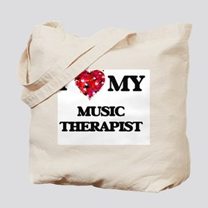 I love my Music Therapist hearts design Tote Bag