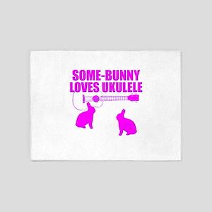 Easter Ukulele bunny 5'x7'Area Rug