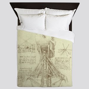 Spinal Column by Leonardo da Vinci Queen Duvet