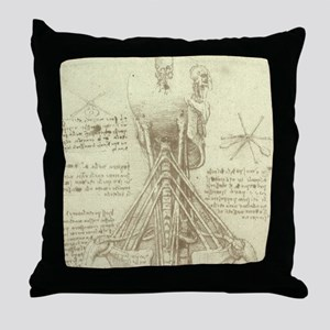 Spinal Column by Leonardo da Vinci Throw Pillow
