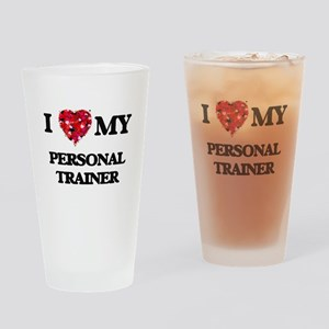 I love my Personal Trainer hearts d Drinking Glass