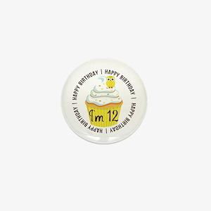 12th Birthday Cupcake Mini Button