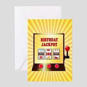 102nd birthday, slot machine Greeting Cards