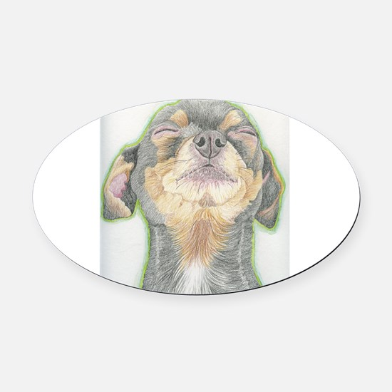 Black and Tan Chihuahua Dog Oval Car Magnet