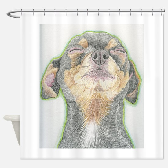 Black and Tan Chihuahua Dog Shower Curtain