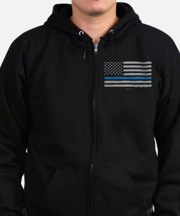 Law Enforcement Blue Line Flag Zip Hoodie (dark)