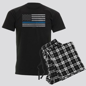 Law Enforcement Blue Line Flag Men's Dark Pajamas