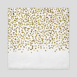 Gold Confetti Dots Queen Duvet
