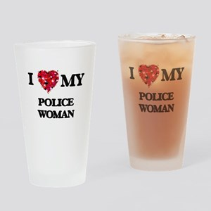 I love my Police Woman hearts desig Drinking Glass