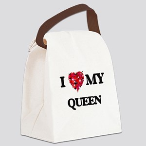 I love my Queen hearts design Canvas Lunch Bag