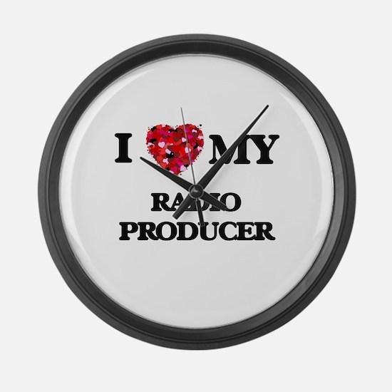 I love my Radio Producer hearts d Large Wall Clock