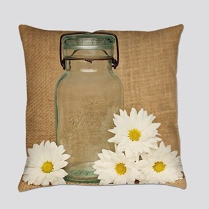 Vintage Mason Jar White Daisies Everyday Pillow