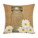 Mason jar and daisy Woven Pillows