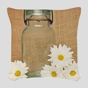 Vintage Mason Jar White Daisies Woven Throw Pillow