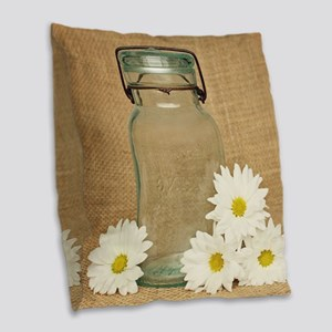 Vintage Mason Jar White Daisies Burlap Throw Pillo