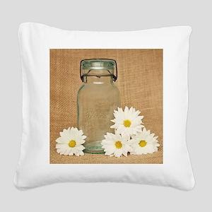 Vintage Mason Jar White Daisies Square Canvas Pill