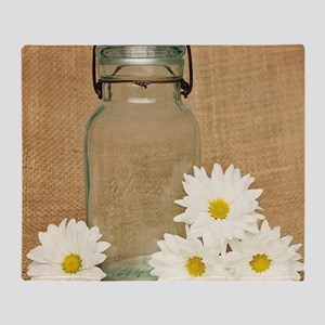 Vintage Mason Jar White Daisies Throw Blanket