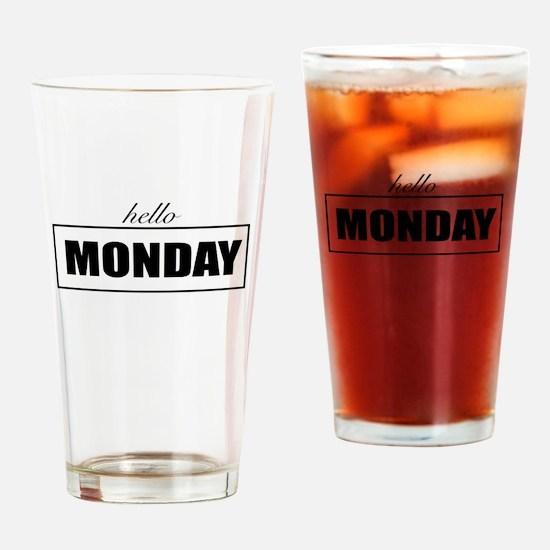 Hello Monday Drinking Glass