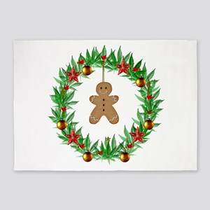 Christmas Marijuana Wreath 5'x7'Area Rug