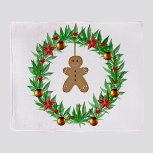 Christmas Marijuana Wreath Throw Blanket