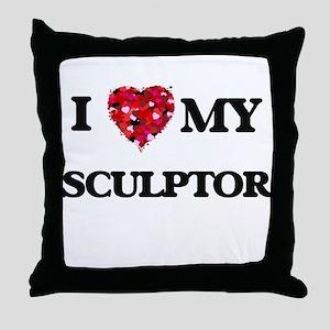 I love my Sculptor hearts design Throw Pillow