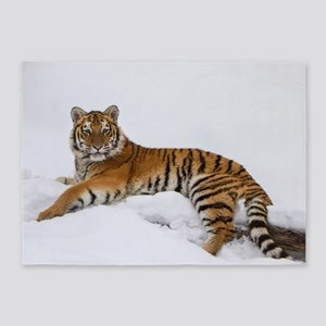Tiger in the Snow 5'x7'Area Rug