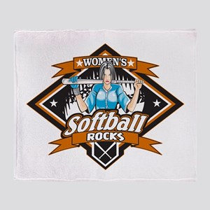 Women's Softball Rocks Throw Blanket