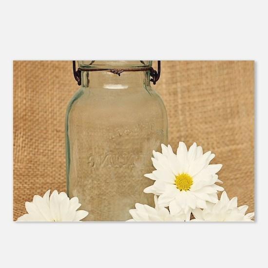 Vintage Mason Jar White Daisies Postcards (Package